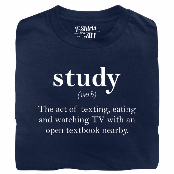 study verb navy blue t-shirt