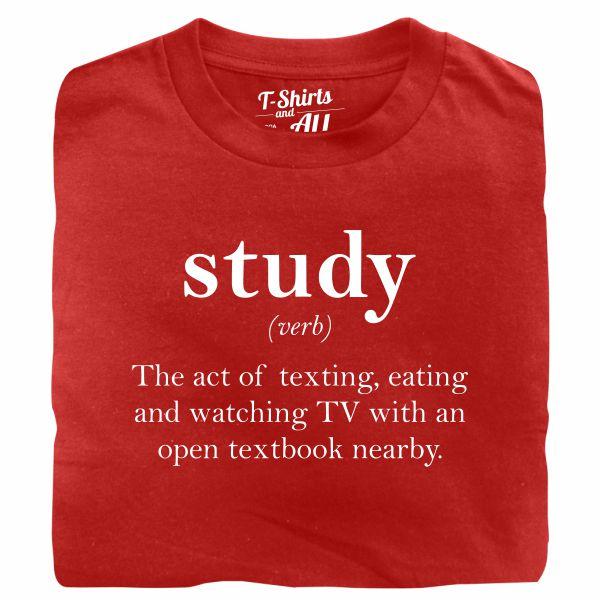 study verb red t-shirt