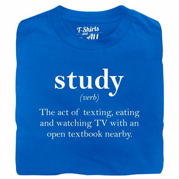 study verb royal blue t-shirt