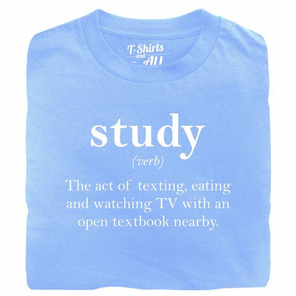 study verb sky blue t-shirt
