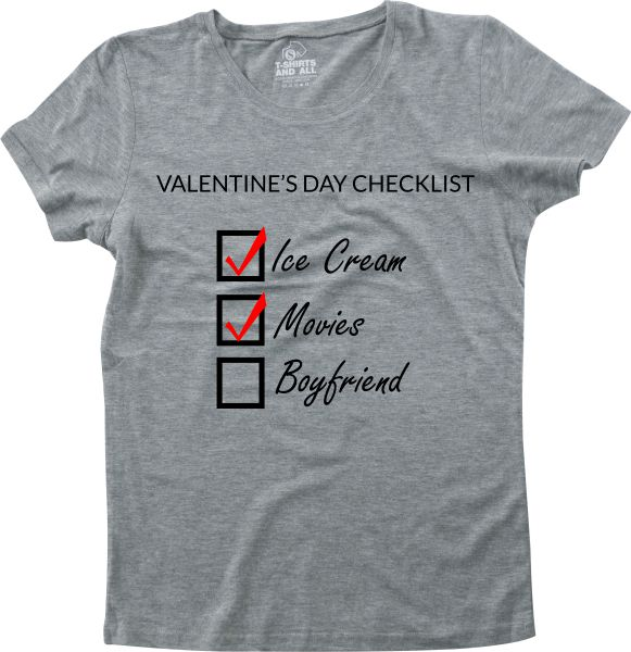 valentine's day check list girls grey t-shirt