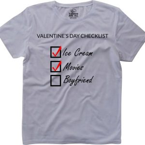 valentine's day check list girls white t-shirt
