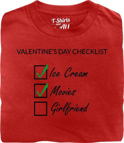 valentine's day checklist man red t-shirt