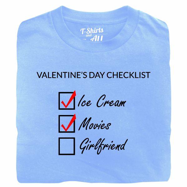 valentine's day checklist man sky blue t-shirt