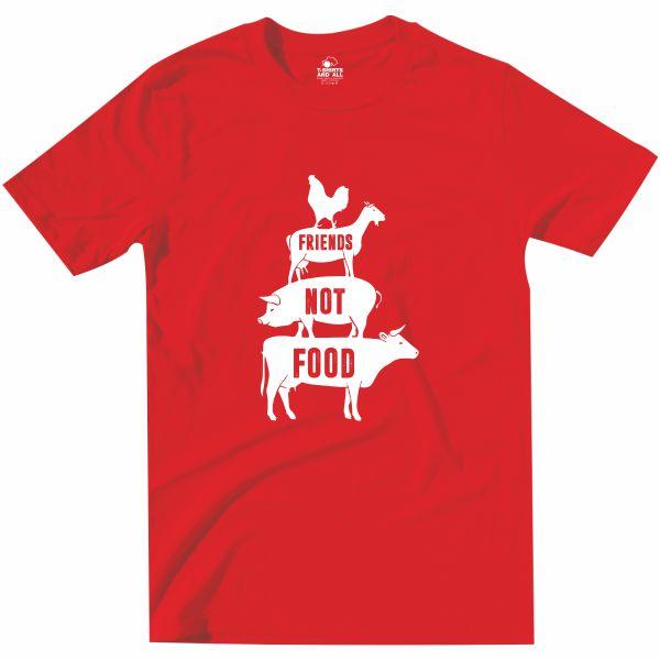 friends not food tshirt vermelha homem