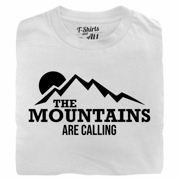 the mountains are calling white tshirt
