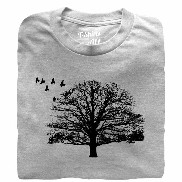 tree with birds heather grey tshirt