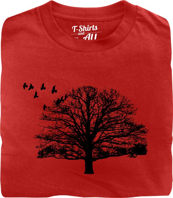 tree with birds red tshirt