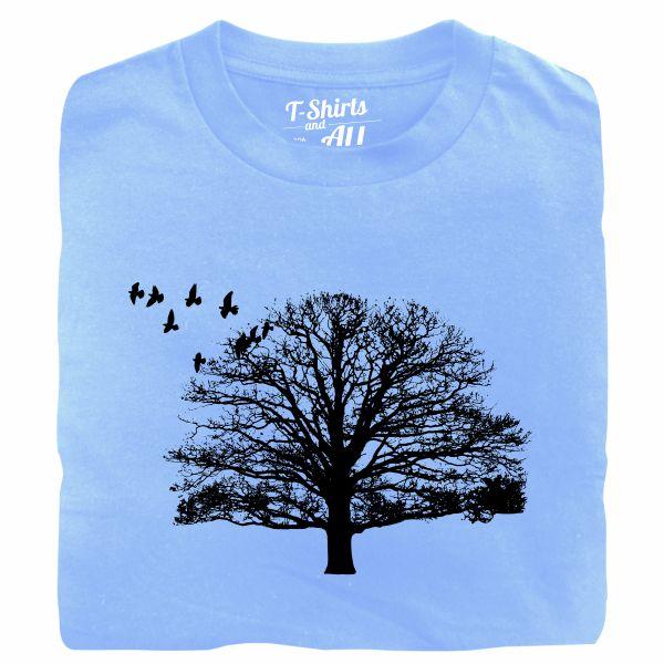 tree with birds sky blue tshirt