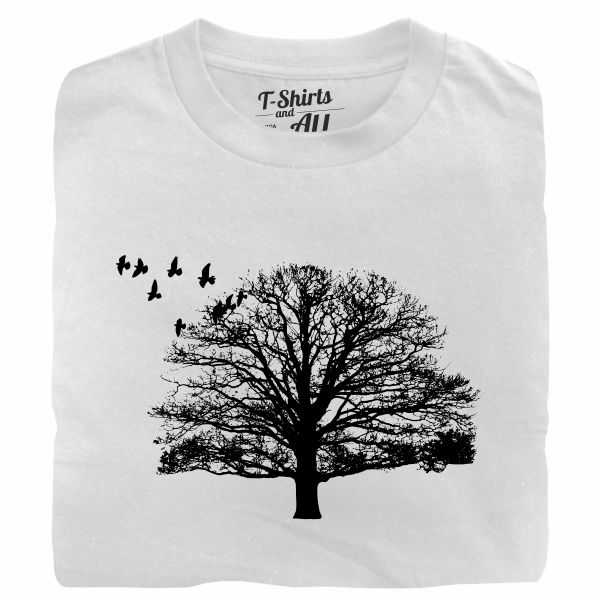 tree with birds white tshirt