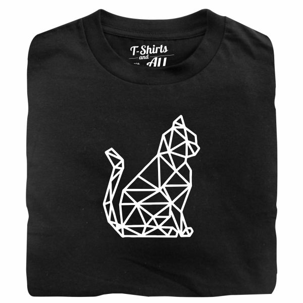 cat geometric tshirt preta