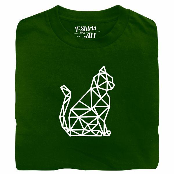 cat geometric tshirt verde