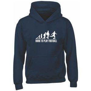 BORN TO PLAY FOOTBALL NAVY KIDS HOODIE