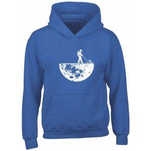 astronaut mowing the moon royal blue kids hoodie