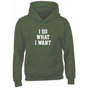 i do what i want kids green hoodie